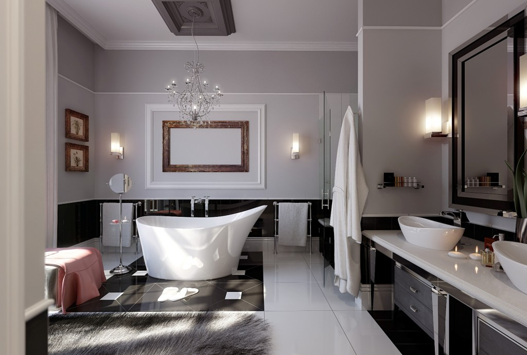 Luxury-bathroom-with-white-ceramic-bathtub-and-elegan-decoration