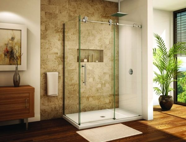 Frameless-sliding-shower-door-system-saves-up-on-the-space-with-sleek-form