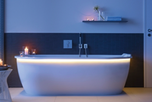 White bath with candles